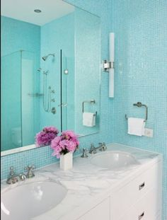Tiffany Blue Bathroom Designs : Tiffany blue tiles... The color I want for the bathroom of our next ...