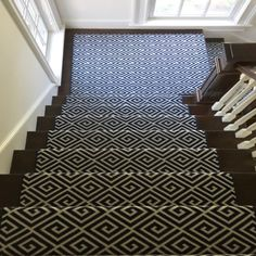 A bold staircase statement! Classifying this as a nautical geometric print can when done in navy and white. Staircase Runner, Rug Company, Patterned Carpet, Wool Carpet, Maze, Navy And White, Animal Print Rug, Colonial, Nautical