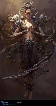 """Asian fantasy art and illustration Hanfu, wuxia, legend of five rings, and martial arts themed artwork 暗黑 西遊 記 """"Journey to the West"""" art by Fenghua Zhong / China http 3d Fantasy, Fantasy World, Digital Art Illustration, Divine Feminine, Gods And Goddesses, Mythical Creatures, Mythological Creatures, Deities, Fantasy Characters"""