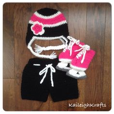 A personal favorite from my Etsy shop https://www.etsy.com/ca/listing/242021066/baby-girl-crochet-hockey-set-black-pink