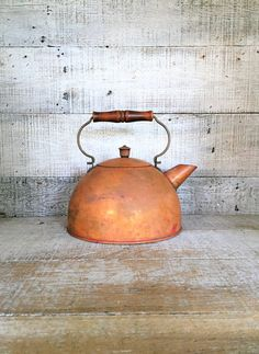 Teapot Mid Century Copper Teapot Copper Tea Kettle Antique Metal Teapot Metal Tea Pot Copper Planter Small Planter Farmhouse Chic Kitchen by TheDustyOldShack on Etsy