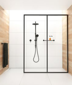 Modern shower outlined with window
