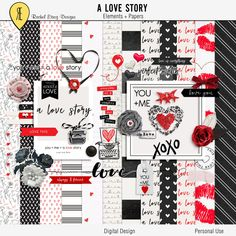 Valentine's scrapbook kit, Digital scrapbooking kits valentine's, Digital valentine's elements, Valentine's scrapbook embellishment by Racheletrogdesigns on Etsy