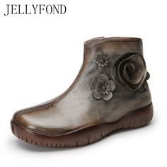 JELLYFOND Vintage Style Women Platform Ankle Boots Handmade Flower Genuine Leather Cowboy Western Boots Brand Autumn Shoes