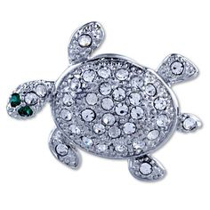 $37.31 Use a brooch to accessorize your favorite outfit or spice up apparel that just needs some extra kick. The Pugster silver tone crystal turtle Brooch is made from silver plated metal and studded with clear crystal. This Pugster brooch is perfect to give a fun, artistic flair to whatever it is that you are wearing. Pugster created each brooch for people who love high quality handcrafted jewelry with a price that is sure to make you smile...