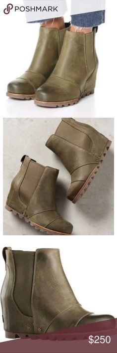 Sorel Lea Wedge Bootie in Olive Green RARE COLOR Size 8. In original box. Worn about 10 times. These only get better with wear! Super comfortable, just have another color and don't need two! Slip on. Elastic on sides to move with you and adjust to your foot and ankle. Still in original box! Wedge is very comfortable to walk in. Tread on the bottom is thick and offers great support. Color is peat moss. a nice neutral olive green color. This color is not even on the sorel website. Hard to…
