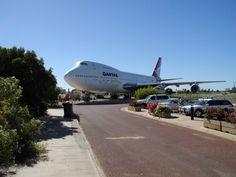 "Qantas Boeing 747-238B VH-EBA ""City of Bunbury"" has been on permanent display at the Qantas Founders Museum in Longreach, Queensland, Australia, since 2002."