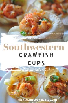 cajun food Won tons, found in the produce section, filled with a festive flavorful crawfish mixture make impressive party pick-ups. To make ahead, bake the won ton cups, make the filling and refrigerate until ready to put together. Crawfish Recipes, Cajun Recipes, Cajun Food, Louisiana Recipes, Southern Recipes, Cajun Appetizers, Tailgating Recipes, Clean Eating Snacks, Healthy Cooking