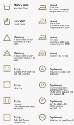 Cleaning symbols on clothing