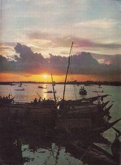 "The river ""Buriganga"" at Sunset. Dhaka, Bangladesh (1960s)"