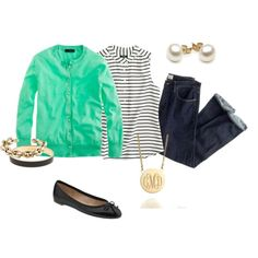 A fashion look from April 2013 featuring short-sleeve cardigan, striped shirt and ballet flats. Browse and shop related looks.