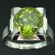Apple Green Peridot Engagement Ring French by adinantiquejewellery, $5800.00