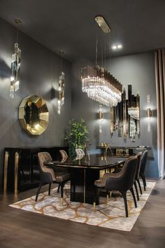 32 Fabulous Contemporary Dining Room Decorating Ideas - The latest trends, the newest styles, ah, this is what makes the world go around. Contemporary dining room sets can help you to make a statement about. Dining Table Lighting, Luxury Dining Tables, Elegant Dining Room, Luxury Dining Room, Dining Table Design, Modern Dining Table, Dining Room Sets, Dining Room Furniture, Dining Room Table