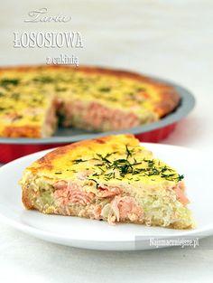 Tarta łososiowa z cukinią, tarta łososiowa, tarta z cukinią, łosoś, cukinia, http://najsmaczniejsze.pl #food #cukinia #łosoś