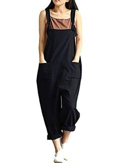 633a88fed951 Aedvoouer Women s Casual Jumpsuits Overalls Baggy Bib Pants Plus Size Wide  Leg Rompers (S