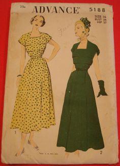 0273ea0ecfe642 1940s Tea Dress Sewing Pattern Advance 5188 FF Sz16 Bust 34 Hip 37 Keyhole  Neckline 1940s