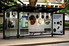 QR code enables the interaction between phone and bus stop ad space
