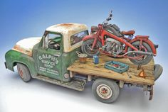 "AMT 1/25 scale 1953 Ford F-100 Pickup truck + TASCA 1/24 scale Zündapp KS750. By ""Doozy"" Yasu OKUGAWA. #motorcycle #model_cars #scale_model http://www.doozymodelworks.com/works/d_13/d13.html"