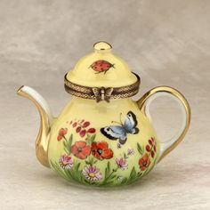 Limoges Butterflies Ladybugs Yellow Teapot Box