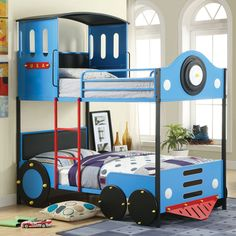 Furniture of America Blue Train Locomotive Metal Youth Bunk Bed (Blue), Black, Size Twin