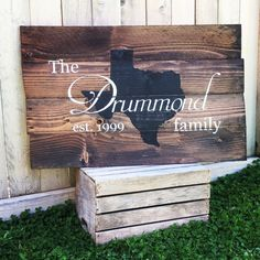 Rustic Home State and Family Name est date hand painted