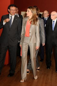 Princess Letizia of Spain (C) visits 'Spanish Drawings from the British Museum: Renaissance to Goya' exhibition at the Prado National Museum on 14 May 2013 in Madrid