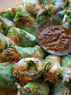 Basil: Spring Rolls with Spicy Peanut Sauce. Substitute a gluten free peanut sauce to serve with these spring rolls. This peanut sauce recipe uses hoisin witch is not gluten free. Think Food, I Love Food, Food For Thought, Good Food, Yummy Food, Tasty, Vegetarian Recipes, Cooking Recipes, Healthy Recipes