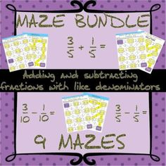 Adding and subtracting fractions with like denominators maze bundle Adding And Subtracting Fractions, Test Prep, Maze, Homework, Fun Activities, Worksheets, Students, Number, Products