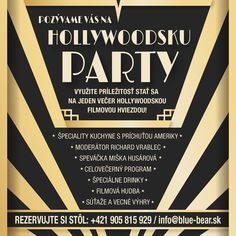 Zažite chuť Ameriky na špeciálnej akcii Holywood Party. Restaurant Bar, Blues, Menu, Cards, Menu Board Design
