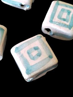 Boho ceramic square beads- Cream and green hand painted and handmade beads-craft suppllies for jewelry making.- Beading- lightweight beads - pinned by pin4etsy.com
