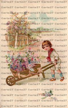 Vintage Ansichtskarte Zum Geburtstag Bub mit Blumen, Gärtner zum direkten digitalen download, dachshund, 3 dateien von arteaustria auf Etsy