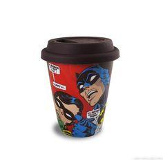 Copo com Tampa Batman e Robin