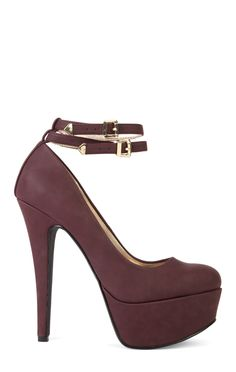 Deb Shops High Heel Platform Pump with Ankle Strap and Gold Hardware $36.50
