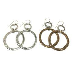 Ancient Bronze and Sterling Silver Hoop Earrings