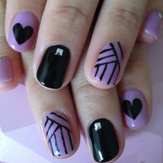 Black and purple nails by azusanail