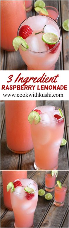 Raspberry Lemonade is a refreshing and thirst quenching drink for summer prepared using just 3 ingredients. #ontheblog #summer #feedfeed #vegan #vegetarian #glutenfree #diaryfree #raw #beverages #cold #drink #juice #diet #buzzfeedfood