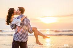 Beach Sunset Engagement Photo Kiss