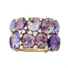 """POMELLATO 18k yellow Gold ring from the """"Lulu"""" collection featuring large Amethyst gemstones as well as Diamond accents. •Ring size 5, ring is 15mm wide. •Weight: 15.8g •Marked Pomellato 750"""