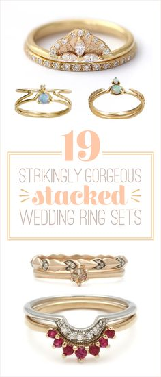 #9 favorite. Also like 12, 14, 16 and 3 love the gray diamonds, ring not so much.19 Stunning Stacked Wedding Ring Sets You'll Say Yes To