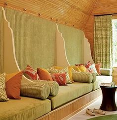 Dream home: upolstered wall with seating - great for indoor/outdoor pool area (social setting)