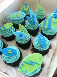 Surf Board Fondant Cupcake or Cake Toppers Edible Fondant