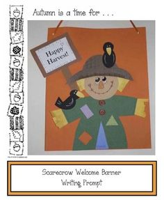 Scarecrow activities: FREE scarecrow writing prompt craft. (3 options) Students complete the prompt and glue it to the back of their banner.