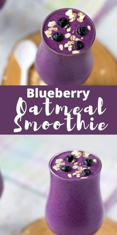 This filling and healthy blueberry oatmeal smoothie is packed with protein and fiber and is perfect for breakfast or an afternoon snack! #homemadeinthekitchen #blueberryoatmealsmoothie #smoothierecipes #blueberryrecipes Oatmeal Smoothies, Breakfast Smoothies, Healthy Smoothies, Healthy Snacks, Breakfast Recipes, Raspberry Smoothie, Green Smoothie Recipes, Juice Smoothie, Easy No Bake Desserts
