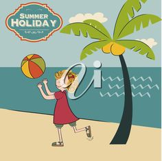 girl playing ball on the beach, vector illustration Summer Clipart, Most Beautiful Words, Clipart Images, English Language, Royalty Free Images, Clip Art, Beach, Illustration, Vector Clipart
