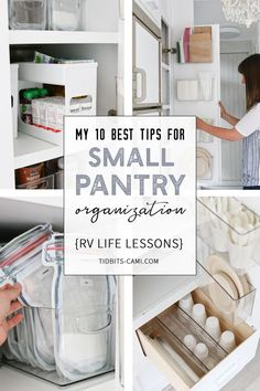 My 10 Best Tips for Small Pantry Organization Sustainable and practical ideas to organize and keep your tiny pantry cupboard organized and lookin' good! Lessons learned while I had to make the most of every inch of space while living in our RV with a fami Small Pantry Cabinet, Tiny Pantry, Small Pantry Organization, Kitchen Pantry Design, Kitchen Pantry Cabinets, Pantry Storage, Kitchen Tops, Pantry Ideas, Organization Ideas