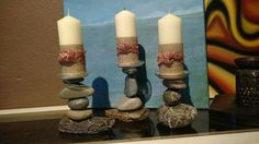 River rock candle holders by sara jackson