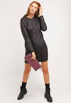 Minimum GALATHEA - Sukienka z dżerseju - black - Zalando.pl