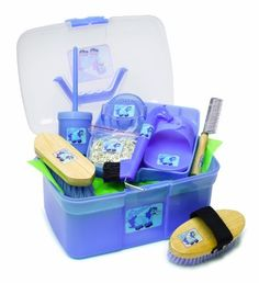 Pony Palooza Pony Palooza Grooming Box, Purple, One Size by Perri's. $25.95. hoof oil container. Curry Comb. braid bands. Dandy Brush. Body Brush. Includes Curry Comb,Pulling Comb,Horsehead Hoofpick, Braid Bands, Body Brush, Dandy Brush, Oil Brusher W/Container And Soft Curry Comb.