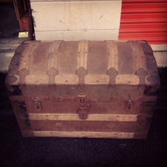 Hey, I found this really awesome Etsy listing at http://www.etsy.com/listing/174656879/antique-dome-lid-trunk-with-embossed