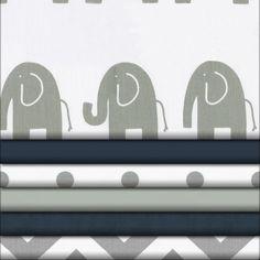 Navy and Gray Elephants Fabric #carouseldesigns